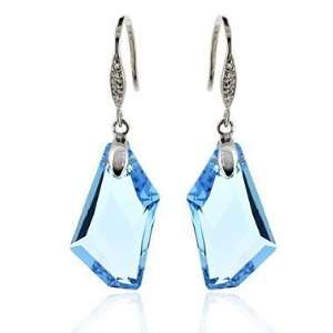 Blue Crystal 925 Silver Earrings Used Swarovski Crystals