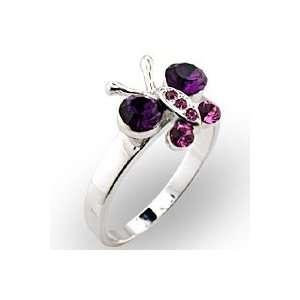 Nature Multicolor Swarovski Crystal Rhodium Ring, Size 5 10 Jewelry