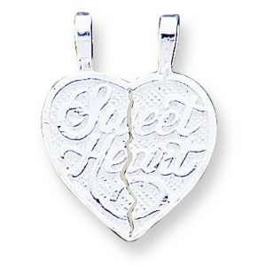 Sterling Silver Sweet Heart 2 Piece Break Apart Heart Charm Jewelry