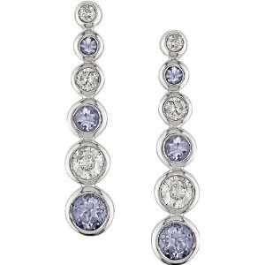 White Gold 1/3 ctw Diamond and Tanzanite Earring H I J,I1 I2 Jewelry