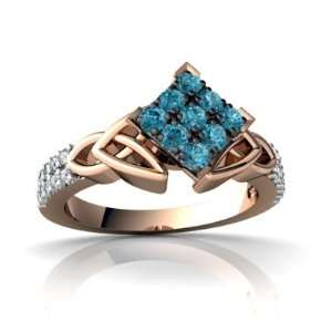 14k Rose Gold Blue Diamond Engagement Ring Size 6.5 Jewelry