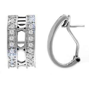 Round Diamond 14k White Gold, Tiffany Style Hoop Earrings Jewelry