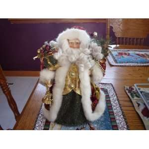 13 INCH DELUXE CERAMIC FACE & HANDS SANTA TREE TOPPER