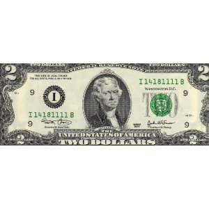 1111 plus 4 New Two dollars $2 Consecutive Bill Notes
