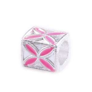 TheIKA x1 Antique Silver Plated Pink Square SpacerCharm Bead