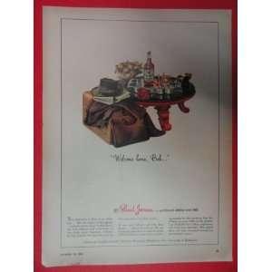 Paul Jones whiskey 1943 Print Ad (welcome home Bob)) Orinigal Vintage