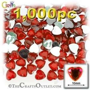 1,000pc Rhinestones Heart 10mm   flatback Ruby Red RED