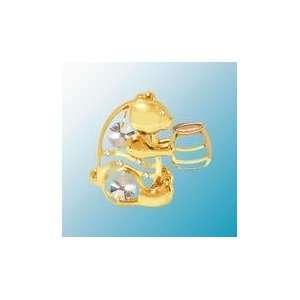 24K Gold Plated Bear W/ Honey Jar Free Standing   Clear   Swarovski