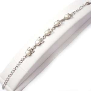 6 7mm white freshwater pearl crown shape white gold plated