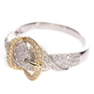 14k White & Yellow Gold Diamond Belt Shaped Ring: Jewelry