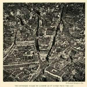 1925 Print Aerial Birds Eye View London England Cityscape Street Scene