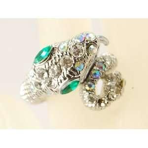 Green Eye Clear Crystal Rhinestone Body Snake Coil Wrap Ring Jewelry