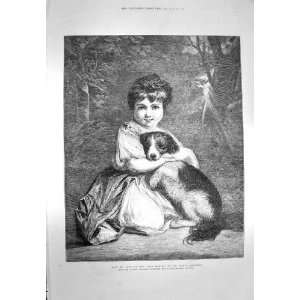 1873 Love Me My Dog Little Girl Miss Bowles Pet