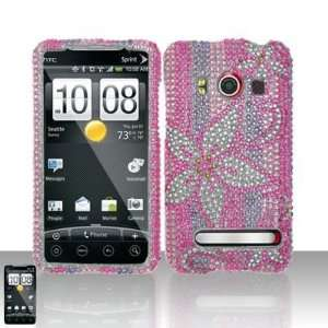 HOT PINK FLOWERS Hard Plastic Bling Rhinestone Design Case for HTC Evo