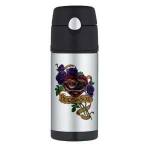 Thermos Travel Water Bottle Heart and Soul Roses and Motorcycle Engine