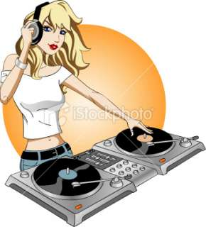 Girl DJ aRockin Royalty Free Stock Vector Art Illustration