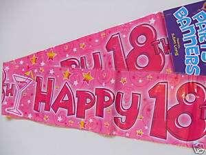 Happy 18th Birthday Banner or Sash 2.6m long GIRL BNIP