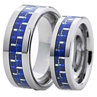 His Hers Tungsten Carbide Blue Carbon Fiber Flat Shinny Wedding 2 Pcs