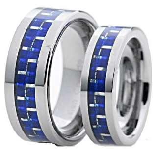 His Hers Tungsten Carbide Blue Carbon Fiber Flat Shinny Wedding 2 Pcs