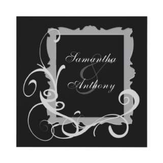 Black with White Swirl Frame Wedding Invitations from Zazzle