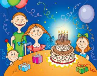 Birthday Party Scene with Children, Presents, Balloons and Cake