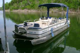 24 FOOT BEACHCOMBER ANGLER PONTOON BOAT with 50 HP MERCURY OUTBOARD