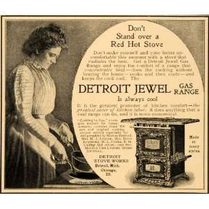 1901 Ad Detroit Jewel Antique Gas Range Hot Stove Works   Original
