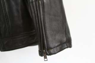 Andrew Marc Black Motorcycle Leather Jacket Size L NWT