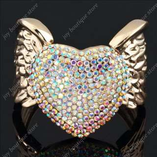 Clear AB Swarovski crystal heart Angel Wing Rose gold tone fashion