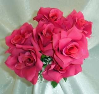 FUCHSIA WATERMELON HOT PINK Soft Silk Wedding Flowers Bouquets