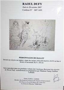 RAOUL DUFY ORIGINAL PENCIL ON PAPERTHE BALLET DANCER