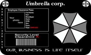 Resident Evil ID Card Umbrella Corp Cosplay Costume Pro