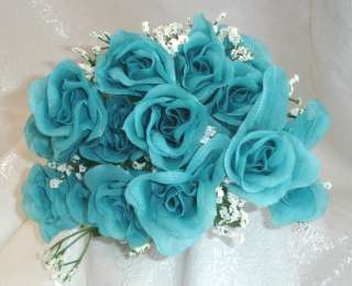 84 Long Stem Roses ~ TURQUOISE BLUE MERMAID ~ Silk Wedding Flowers