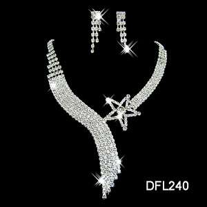 Bridal bridesmaid crystal necklace earring costume Jewelry sets 0240