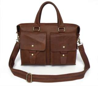 NWT Dark Brown Leather Mens Briefcases Laptop Bag DHL