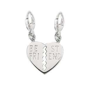 Sterling Silver Best Friend Split Break Away Heart Charm Bracelets