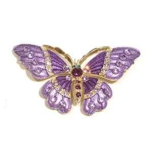 Amethyst Austrian Rhinestone Butterfly Gold Plated Brooch Pin Jewelry