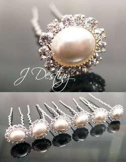 Bridal Clear Rhinestone Flower Pearl Pins Set F743S