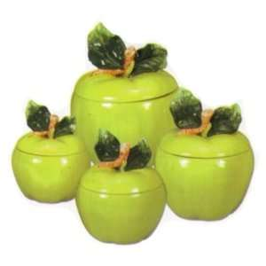 new apple ceramic 4 pc canister set. Black Bedroom Furniture Sets. Home Design Ideas
