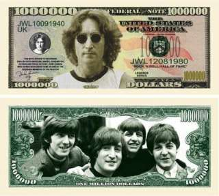 John Lennon Beatles Fake Bills One Million Dollar Bill