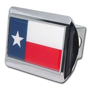 Lonestar State of Texas Bright Polished Chrome with Red