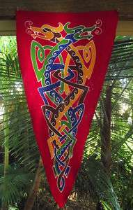 FLAG Pennant Medieval Celtic Knot Dragon Heraldry