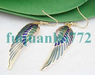 Gold Plated Cloisonne Angel Wing Dangle Earrings #3212