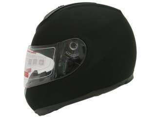 SOLID MATTE BLACK FULL FACE MOTORCYCLE STREET HELMET~M