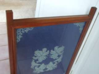 Antique Mahogany color Wooden Fireplace Screen w/ Glass & Lined Blue