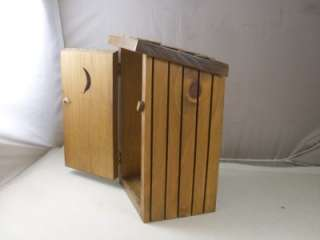 Vintage Hardwood Outhouse Toilet Tissue Paper Holder With a Shingled