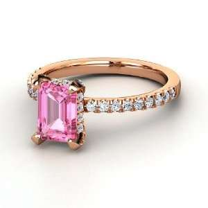 Reese Ring, Emerald Cut Pink Sapphire 18K Rose Gold Ring