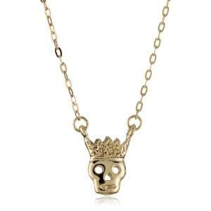 Sheila Fajl Rose Gold Plated Crowned Skull Necklace