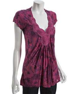 Erge gladiola pink floral printed jersey rosette top   up to