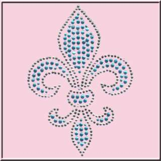 Rhinestones Teal Fleur De Lis French Terry Track PANTS
